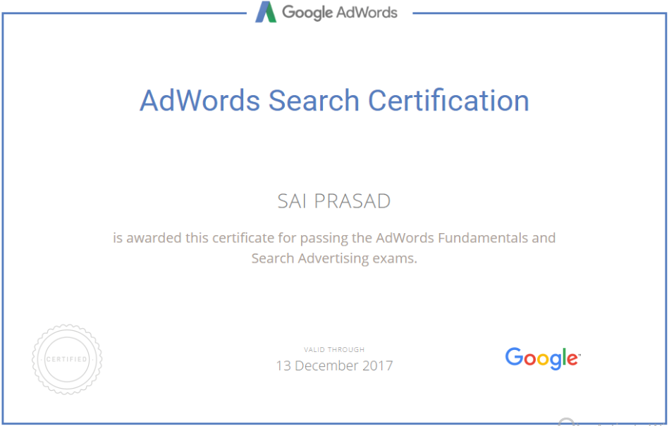 Intentwise Adwords certification