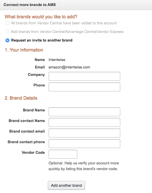Connecting brands to a vendor account for Amazon account management
