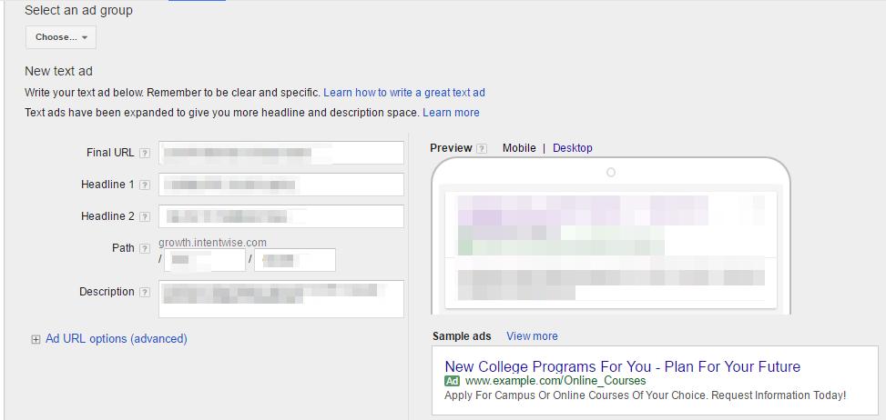 Google Adwords Ad Creation