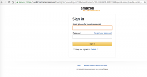 Amazon Vendor Login screen