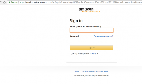 Amazon Vendor Login screen