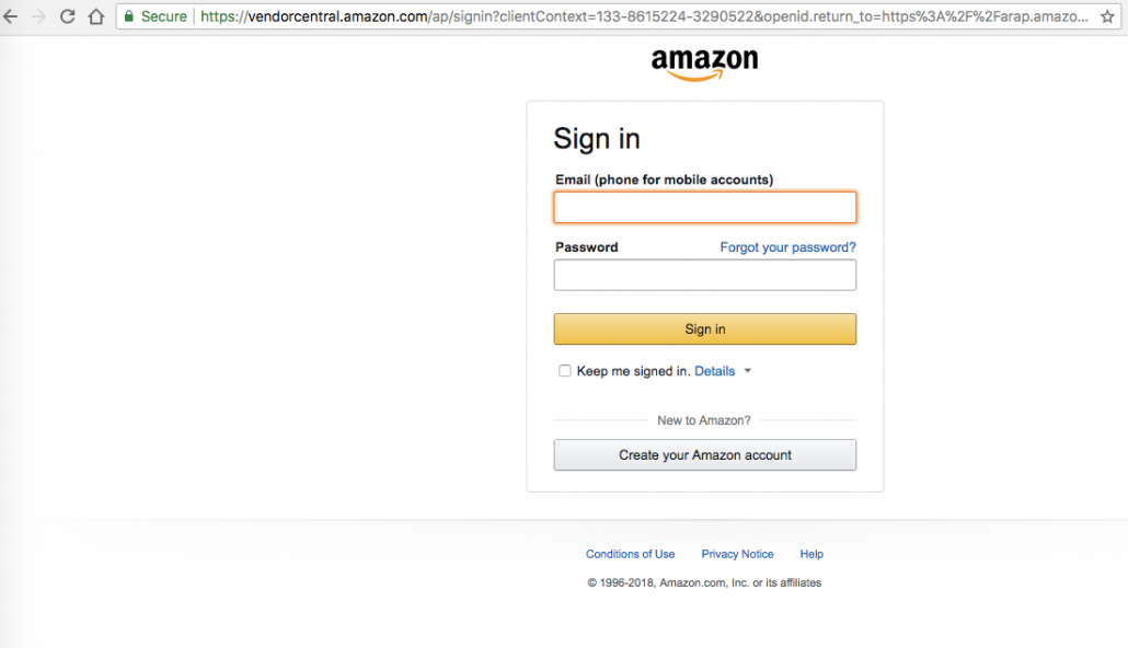 Amazon Retail Analytics Login Page