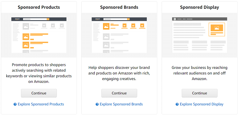 Amazon advertising - sponsored products (SP), sponsored brands (SB), sponsored display (SD)
