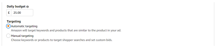 Amazon advertising in sponsored products - auto campaign